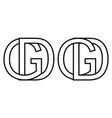 logo sign gd and dg icon sign interlaced letters d vector image vector image