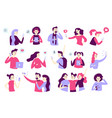 man and woman characters using smartphone gadget vector image vector image