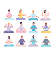 meditation characters male and female person yoga vector image