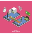 Mobile money transfer flat isometric vector image