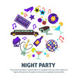 night party dancing club disco ball and limousine vector image vector image