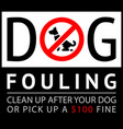 no dog fouling sign modern trendy banner vector image vector image