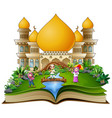 open book with a group of muslim people in the fro vector image vector image