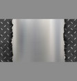 polished metal empty plate with torn edges vector image vector image