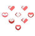 red hearts set collection of love images vector image vector image