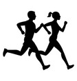 running man and woman black silhouettes vector image
