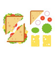 sandwiche top view with tomato onion salad vector image vector image