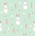 seamless pattern with cute hare vector image vector image