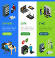 server hardware banner vecrtical set isometric vector image vector image