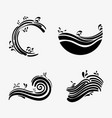 set ocean waves with differes shapes design vector image