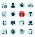 set of 16 management icons includes curriculum vector image vector image