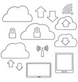 set of cloud storage vector image