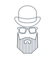 simple style portrait hipster man in hat vector image