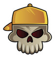 skull with baseball hat on white background vector image vector image