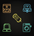 smart house gadgets icon set in neon style vector image