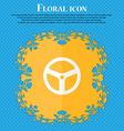 Steering wheel icon sign Floral flat design on a vector image