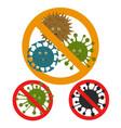 stop microbe microscopic viruses vector image