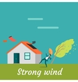 Strong Wind Destroying House and Killing Man vector image