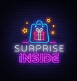 surprise neon sign design template vector image
