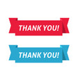 thank you red and blue color ribbon vector image vector image