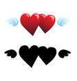two hearts and wings vector image vector image
