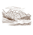 valley landscape mountains and river forest and vector image
