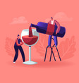 wine degustation man pouring wine to woman vector image vector image