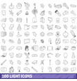 100 light icons set outline style vector image vector image