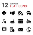 12 communication icons vector image vector image