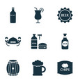 alcohol icons set with beer chips brewery and vector image