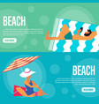 beach website template set horizontal banners vector image vector image