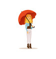 beautiful woman wearing warm clothes standing vector image