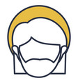 blue color contour of faceless head of saint vector image vector image