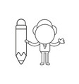businessman character holding pencil black outline vector image vector image