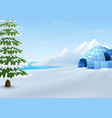cartoon of igloo with fir trees and mountains in w vector image vector image