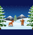 cartoon reindeer on a winter background vector image vector image