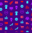 cartoon silhouette shopping seamless pattern vector image