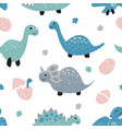 childish seamless pattern with cute dinosaurs vector image