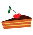 chocolate pie with a cherry or color vector image vector image
