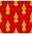 Christmas Tree Red Seamless Background vector image