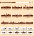 city skyline set 10 silhouettes of asia 3 vector image vector image