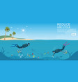 diver cleaning plastic trash from ocean vector image vector image