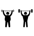 fat man and strong sportsman fitness training vector image