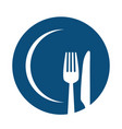 fork and knife on blue plate icon cutlery and vector image vector image