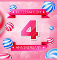 four years anniversary celebration design banner vector image vector image