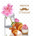 french breakfast card pink peony flower vector image vector image