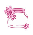 full color small mason glass with flowers and vector image vector image