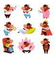 funny bull character emotional animal ox mascot vector image vector image