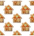 Gingerbread houses and homes seamless pattern vector image