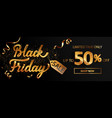 gold black friday sale banner with golden sparkle vector image